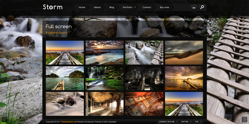 Storm - Full Screen Background Template - 4 Column gallery layout