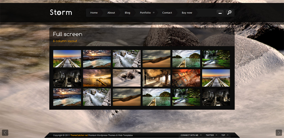 Storm - Full Screen Background Template - 6 Column gallery layout