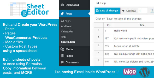 WP Sheet Editor - Bulk Spreadsheet editor for WordPress Posts and Products