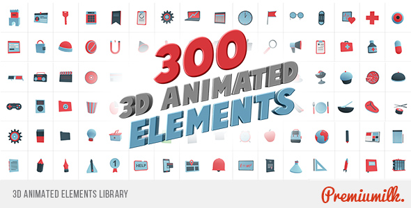 VideoHive 3D Animated Elements Library 18734079