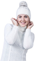 Woman in white sweater and hat