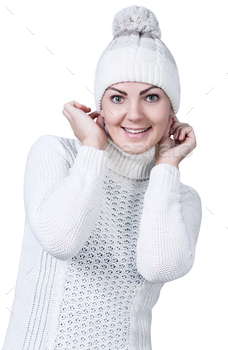Photodune Woman in white sweater and hat 18736271
