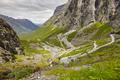 Norwegian mountain road. Trollstigen. Norway tourist landscape valley. Horizontal