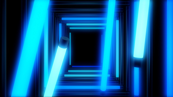 VideoHive Glow Blue Lights Tunnel 18736380