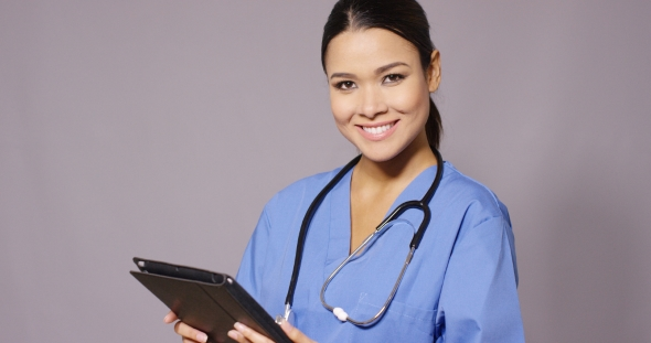 Download Frowning Nurse Or Doctor Checking Information nulled download