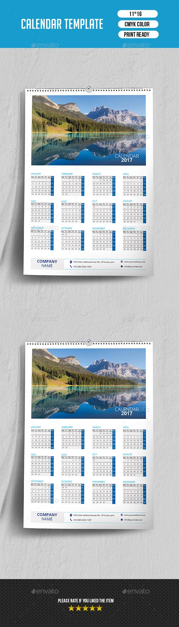 Wall Calendar 2017 | Updated -V02