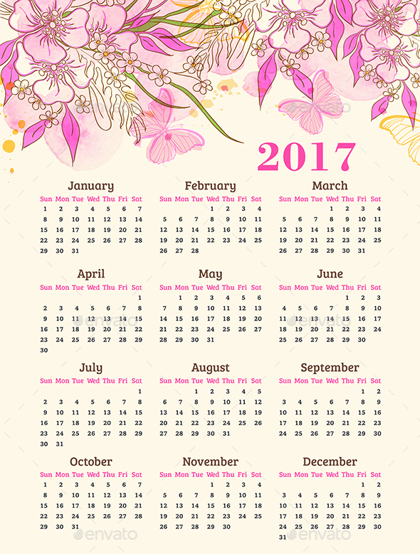 Calendar with Pink Flowers