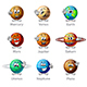 Funny Cartoon Planets Icons Vector Set