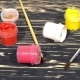 Lot Of Varicolored Paint Gouache Jars With Brushes