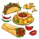 Download Vector Set Of Traditional Mexican Food - Burrito, Taco