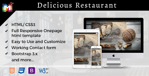 Responsive One page Restaurant Template