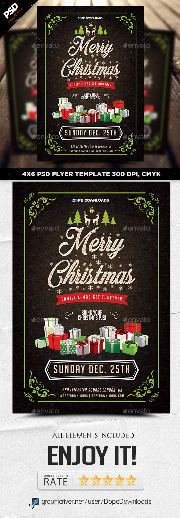 Family Christmas Party Flyer Template
