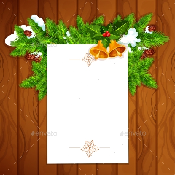 Christmas Card With Blank Paper And Holly Berry