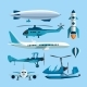 Vector Set Of Flying Transportation Objects. Hot