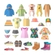 Vector Set Of Baby Clothes In Flat Style. Children