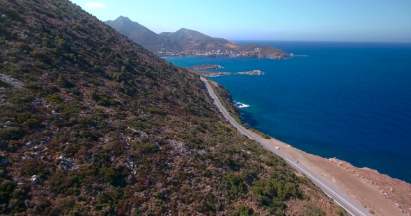 VideoHive Flying Above Road By Seashore 18758297