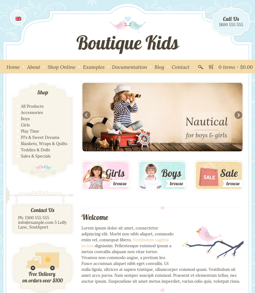 Boutique kids creative by dtbaker themeforest for Unique online shopping websites