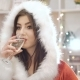 Glamour Woman Drinking Champagne And Flirting At New Years Eve Party In