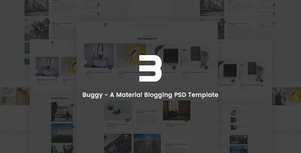 Buggy - Material Blog PSD Template
