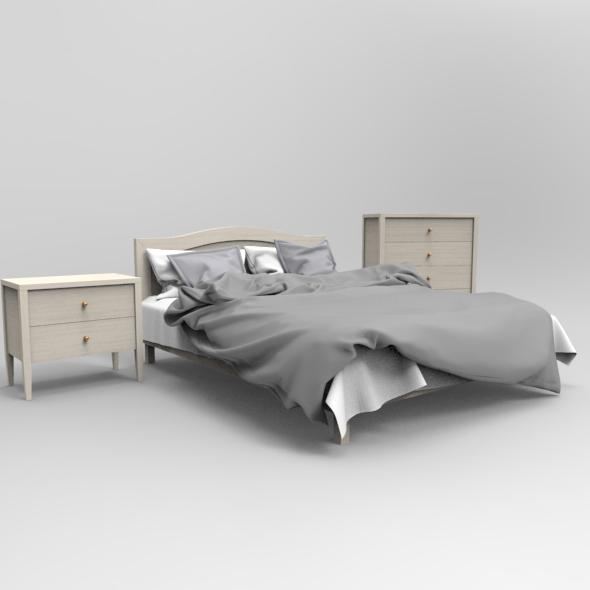 3DOcean Gray Bed 18765512