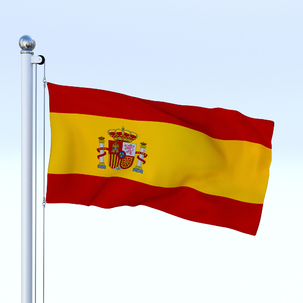 Animated Spain Flag - 3DOcean Item for Sale