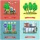 People In Park Concept Banners Vector Set.