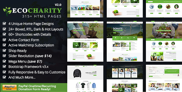 ecoCharity - Nonprofit Environment HTML5 Template