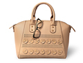 Elegant beige handbag and glasses