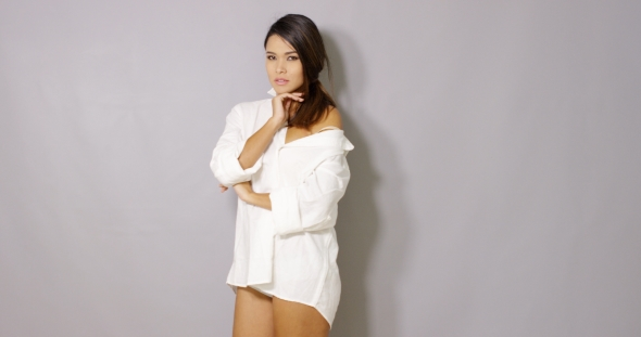 Download Sexy Girl In White Mens Shirt Posing On Gray nulled download