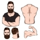 Male Body Parts For Tattoo Set
