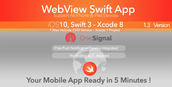 WebView Swift App - Push Notification , Swift 3 - CodeCanyon Item for Sale