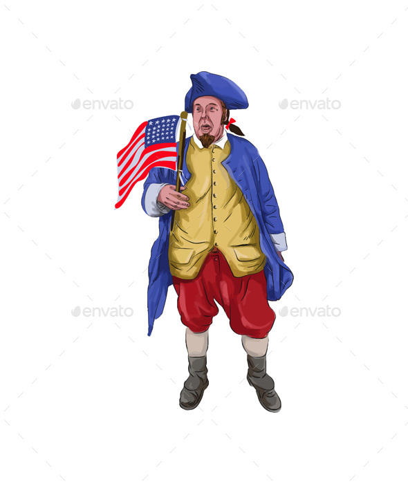 American Patriot Shouting Holding Flag Watercolor