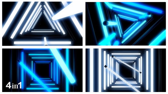 VideoHive Glow Neon Lights Tunnel 4-Pack 18783287