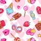 Seamless Kawaii Pattern With Sweets And Candies