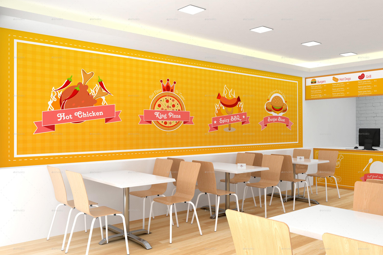Fast food restaurant branding mockups by shrdesign