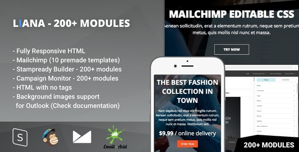 Download Liana - 200+ Modules - Responsive Email with Mailchimp Editor & StampReady Builder nulled download