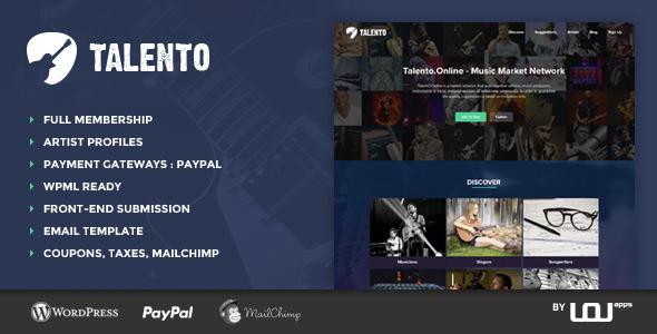 Talento - Music Market Network Theme