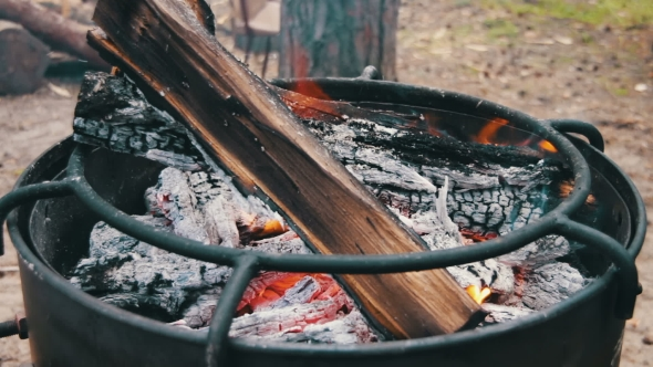 VideoHive Bonfire With Wood And Coal Burning On The Grill 18790170