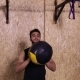 Two Man In Gym Sport Exercising Throw Ball Crossfit Training, Young Sportsman Working Out