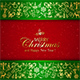 Golden Christmas Decorative Elements on Green Background