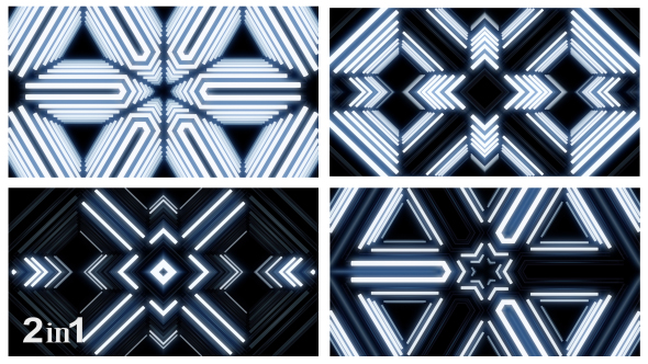 VideoHive Glow Neon White Lights Abstraction 2-Pack 18790776