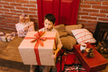 Boy with big gift