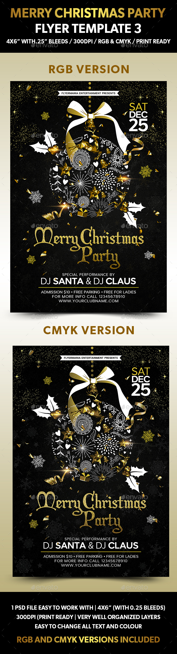 Merry Christmas Party Flyer Template 3