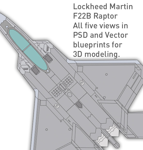 3DOcean Lockheed F22 B Raptor blueprints for 3D modeling 1848952