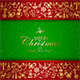 Golden Decorative Elements on Red Christmas Background