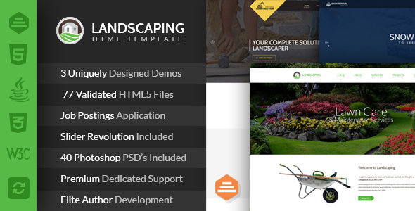 Landscaping - Lawn & Garden, Landscape Construction, & Snow Removal HTML Template