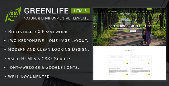 Image of Greenlife - Nature & Environmental Non-Profit HTML5 Template