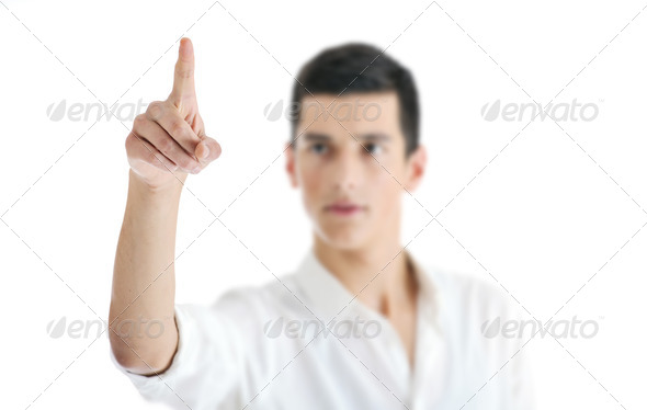 businessman touching futuristic screen - Stock Photo - Images