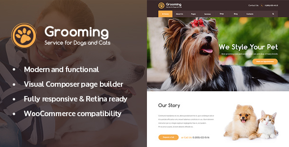 Download Pet Grooming / Pet Shop / Veterinary Theme nulled download