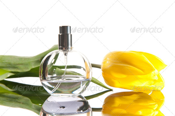 Isolated perfume and flower - Stock Photo - Images